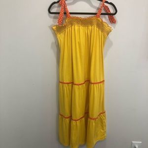 Vintage 1970's Yellow Midi Summer Dress Size 7